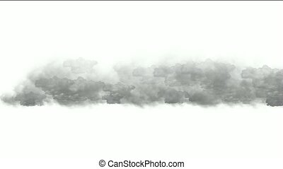 clouds in mid-air, flying smoke.