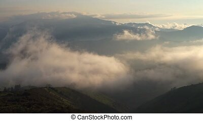 Clouds in Quito Ecuador - View from the Teleferico in Quito,...