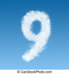 clouds in shape of figure nine - number nine made of white...
