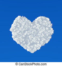 Clouds in shape of heart on a blue background