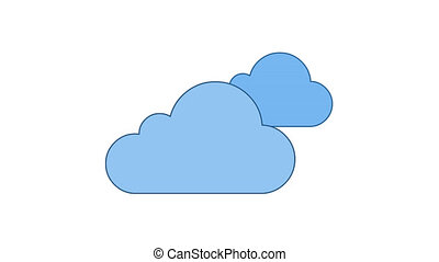 Clouds in sky blue line art vector animation. Cloudscape, weather forecast and meteorology simple contour icon video. Mainly cloudy day overcast, climate color motion graphics
