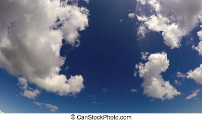 Clouds in the blue sky, time lapse