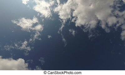 Clouds in the blue sky, timelapse