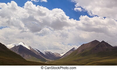 Clouds in the mountains. River Valley Tuz