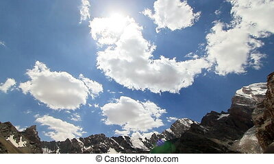 Clouds in the mountains. Tazhikistan. Time Lapse