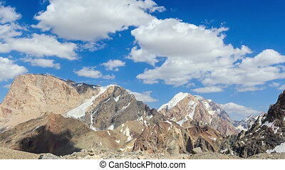 Clouds in the mountains. Time Lapse. Pamir, Tajikistan