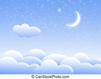 Clouds in the night - Illustration about sky with clouds and...