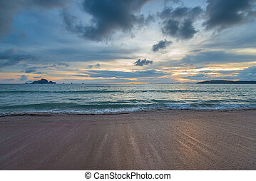 clouds in the sky in the evening, sunset over the Andaman Sea in Thailand