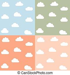 Clouds kids seamless pattern set.