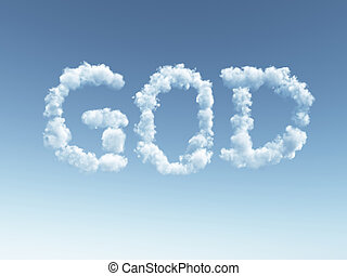 god - clouds makes the word god in the sky - 3d illustration