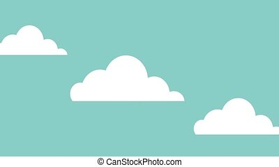 clouds moving horizontally icons animation design
