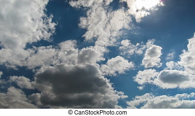 Clouds Moving in the Blue Sky - White, rain, gray, haze,...