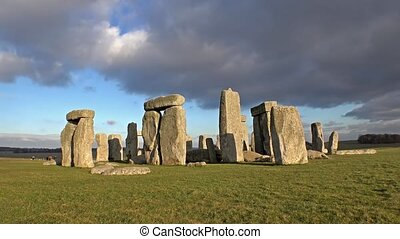Clouds moving over Stonehenge, Wiltshire England - UK -...