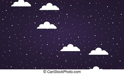 clouds moving through starry night sky icons
