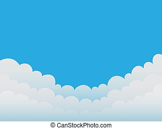 Clouds on a blue sky background. Good weather. Flat design. Vector illustration