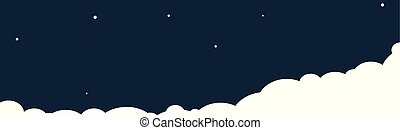 Clouds on a night sky background. Vector illustration.