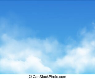 Clouds on blue sky background realistic vector. White fluffy cumulus clouds, rain fog and mist on bright heaven, 3d cloudscape backdrop or border of weather, climate and nature, meteorology