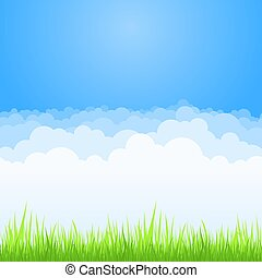 Clouds on blue sky with green grass background. Vector flat air white cloud cartoon on sky horizon