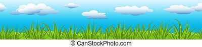 Clouds on blue sky with green grass.
