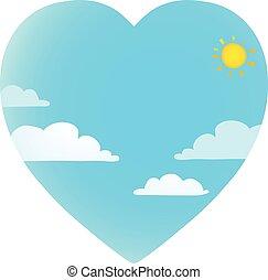Clouds on blue sky with sun heart shape