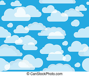 Clouds on green-blue sky. seamless background