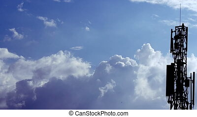 Clouds on hot blue sky