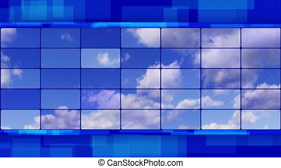 clouds on screens blue loopable - clouds on screens....