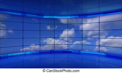clouds on screens in virtual studio loopable. Seamless loop computer generated blue motion background