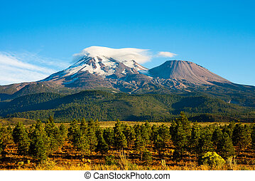 Mount Shasta - Clouds on top of Mount Shasta, California