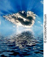 Stunning cloudy sky on the sea or lake