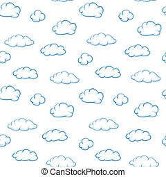Clouds on white background - seamless vector texture