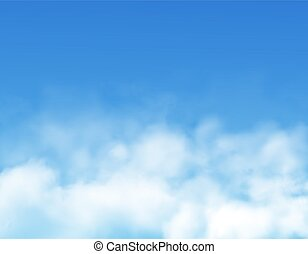 Clouds or fog on blue sky background realistic vector of white cumulus clouds, mist or cloudy heaven. 3d backdrop or border with bright cloudscape, sunny weather and summer climate design