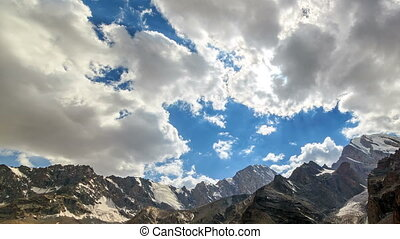 Clouds over a mountain valley. Time Lapse. Pamir, Tajikistan