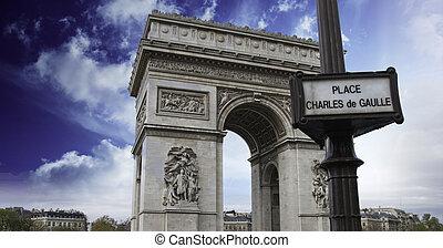 Clouds over Arc de Triomphe in Paris