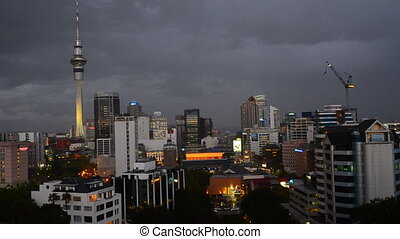 Auckland skyline New Zealand - Clouds over Auckland skyline...