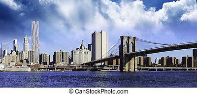 Clouds over Brooklyn Bridge in New York City