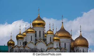 Clouds over gold domes of Annunciation Cathedral in the...