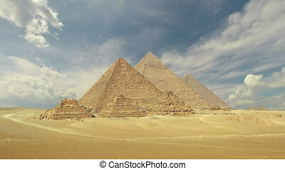 clouds over great pyramids at Giza Cairo in Egypt