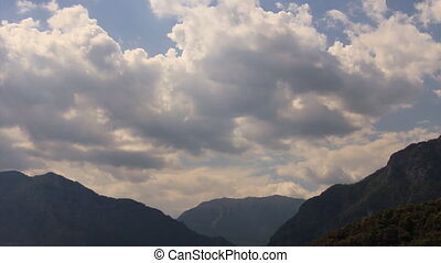 Clouds over mountain valley