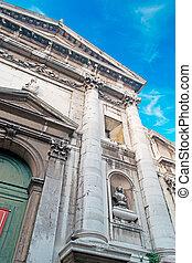 clouds over San Vidal - San Vidal facade on a cloudy day