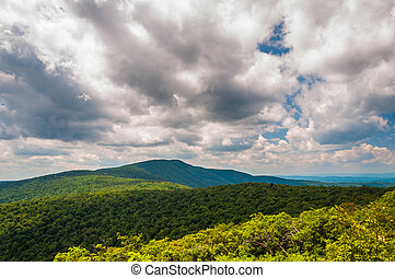 Clouds over the Blue Ridge Mountains in Shenandoah National Park, Virginia.