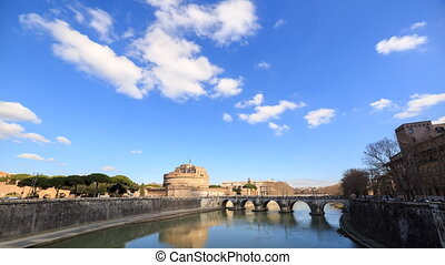 Clouds over the Castle Sant Angelo. Rome, Italy. TimeLapse