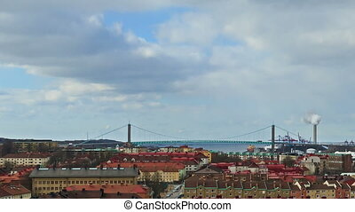 Clouds over the city. Panarama. Gothenburg, Sweden. Time Lapse