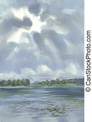 Clouds over the lake watercolor background. Summer landscape