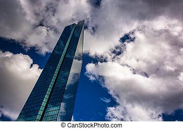 Clouds over the modern John Hancock Building in Boston,...