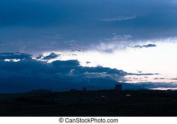 clouds over the mountain Yerevan, Armenia