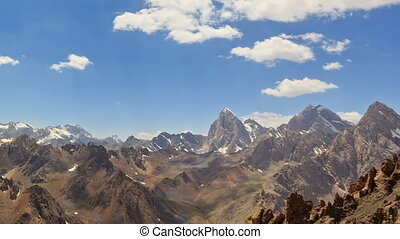 Clouds over the peaks. Time Lapse. Pamir, Tajikistan
