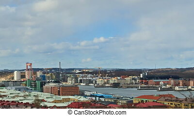Clouds over the port city. Gothenburg, Sweden. Time Lapse