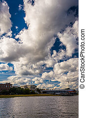 Clouds over the shore in Charleston, South Carolina.