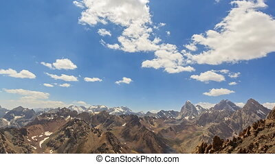 Clouds over the valley. Time Lapse. Pamir, Tajikistan